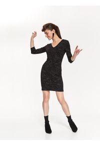 Czarna sukienka TOP SECRET na wiosnę, z dekoltem na plecach, z krótkim rękawem, w kolorowe wzory