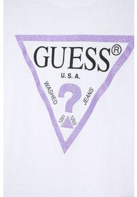 Biała bluzka z krótkim rękawem Guess Jeans z nadrukiem, casualowa, na co dzień
