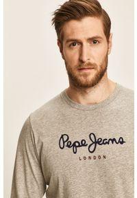Szara koszulka z długim rękawem Pepe Jeans z okrągłym kołnierzem, melanż