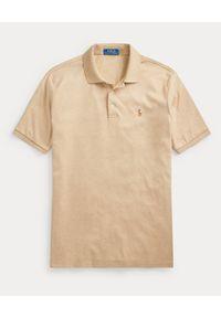 Ralph Lauren - RALPH LAUREN - Beżowa koszulka Polo Custom Fit. Okazja: na co dzień. Typ kołnierza: polo. Kolor: beżowy. Materiał: prążkowany. Wzór: melanż, kolorowy. Styl: klasyczny, casual
