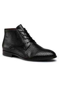 Czarne buty wizytowe Wojas klasyczne, z cholewką