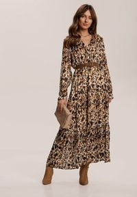 Renee - Brązowa Sukienka Mossaxe. Kolor: brązowy. Materiał: tkanina. Długość rękawa: długi rękaw. Typ sukienki: kopertowe. Długość: midi