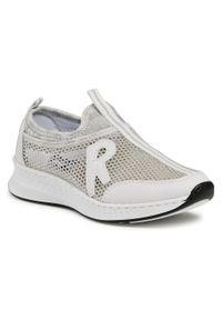 Rieker - Sneakersy RIEKER - N5654-80 Weiss. Okazja: na co dzień, na spacer. Kolor: biały. Materiał: skóra ekologiczna, materiał. Szerokość cholewki: normalna. Sezon: lato. Styl: casual