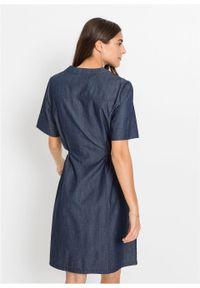 Niebieska sukienka bonprix ze stójką, z krótkim rękawem, sportowa
