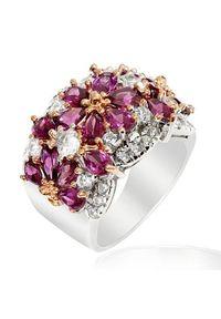 Braccatta - FRIDA Srebrny pierścionek z rodolitami. Materiał: srebrne. Kolor: srebrny. Wzór: kwiaty. Kamień szlachetny: cyrkonia, granat