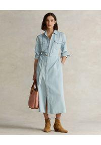 Ralph Lauren - RALPH LAUREN - Jeansowa sukienka midi. Typ kołnierza: polo. Kolor: niebieski. Materiał: jeans. Długość rękawa: długi rękaw. Typ sukienki: proste. Długość: midi