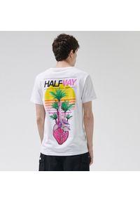 T-shirt Cropp z dekoltem na plecach, z nadrukiem