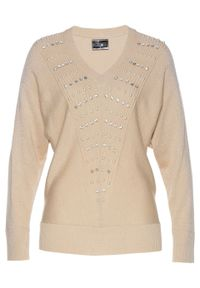 Złoty sweter bonprix klasyczny, z dekoltem w serek