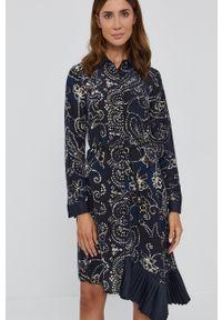 Beatrice B - Sukienka. Kolor: niebieski. Materiał: tkanina. Długość rękawa: długi rękaw. Typ sukienki: asymetryczne