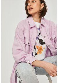 Fioletowa koszula Answear Lab z klasycznym kołnierzykiem, gładkie