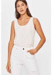 Biała bluzka Answear Lab casualowa, na co dzień, z okrągłym kołnierzem