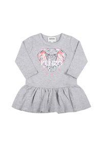 Kenzo kids - KENZO KIDS - Szara sukienka ze słoniem 0-4 lat. Kolor: szary. Materiał: bawełna, materiał. Długość rękawa: długi rękaw. Wzór: nadruk. Sezon: lato
