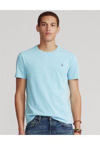 Ralph Lauren - RALPH LAUREN - Niebieski t-shirt Custom Slim Fit. Okazja: na co dzień. Typ kołnierza: polo. Kolor: niebieski. Materiał: tkanina, bawełna. Wzór: haft, melanż. Styl: casual