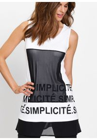 Długi shirt bonprix biało-czarny. Kolor: biały. Materiał: materiał. Długość: długie. Wzór: nadruk