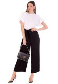 TwinSet - T-shirt z krótkim rękawem oraz koronką Twinset. Kolor: biały. Materiał: koronka. Długość rękawa: krótki rękaw. Długość: krótkie. Wzór: koronka