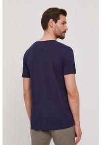 Selected - T-shirt. Okazja: na co dzień. Kolor: niebieski. Materiał: materiał. Wzór: gładki. Styl: casual