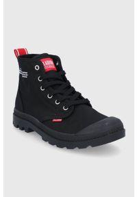 Palladium - Trampki. Nosek buta: okrągły. Zapięcie: sznurówki. Kolor: czarny. Materiał: guma. Szerokość cholewki: normalna