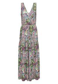 Zielona sukienka bonprix paisley, maxi, z dekoltem w serek, na lato