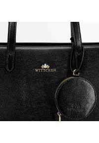 Wittchen - Torebka shopperka skórzana trapezowa. Kolor: wielokolorowy, złoty, czarny. Dodatki: z breloczkiem. Materiał: skórzane. Styl: elegancki, casual. Rodzaj torebki: na ramię