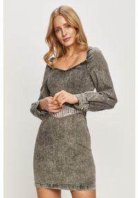 TALLY WEIJL - Tally Weijl - Sukienka jeansowa. Kolor: szary. Materiał: jeans. Typ sukienki: dopasowane