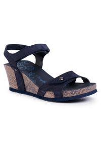 Niebieskie sandały Panama Jack casualowe, na obcasie