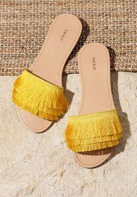 Renee - Żółte Klapki I Dreamed You. Kolor: żółty. Materiał: skóra, materiał. Obcas: na obcasie. Wysokość obcasa: niski