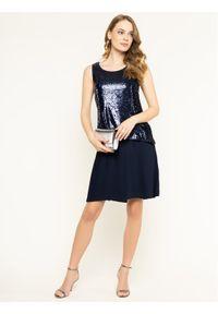 Trussardi Jeans - Trussardi Sukienka koktajlowa Paillettes 56D00332 Granatowy Regular Fit. Kolor: niebieski. Styl: wizytowy