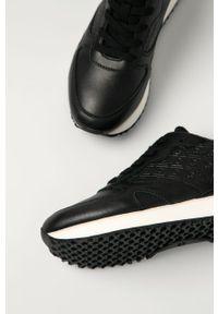 Czarne sneakersy GANT na sznurówki, z cholewką, na średnim obcasie