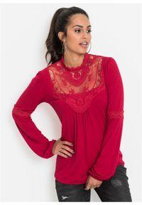 Czerwona bluzka bonprix z długim rękawem, długa, w koronkowe wzory