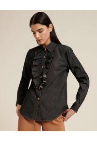 Luisa Spagnoli - LUISA SPAGNOLI - Jeansowa koszula z falbanką LEVEL. Kolor: szary. Materiał: jeans. Długość rękawa: długi rękaw. Długość: długie