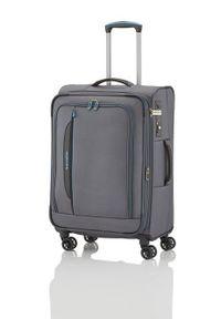Szara walizka Travelite gładkie, biznesowa