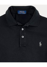 Ralph Lauren - RALPH LAUREN - Czarna koszulka Polo Slim Fit. Typ kołnierza: polo. Kolor: czarny. Materiał: bawełna. Wzór: haft. Styl: klasyczny