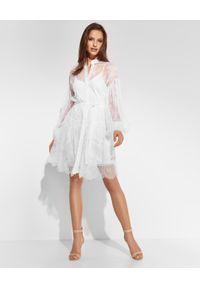 Biała sukienka mini Ermanno Firenze elegancka, w ażurowe wzory, koszulowa