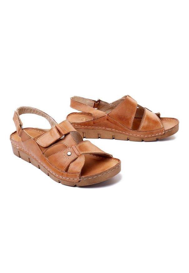 Łukbut - ŁUKBUT 554 ciemny beż, sandały damskie. Zapięcie: rzepy. Kolor: brązowy. Materiał: skóra. Obcas: na koturnie