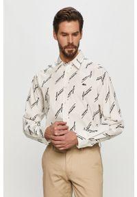 Biała koszula Lacoste z długim rękawem, długa, z klasycznym kołnierzykiem, klasyczna