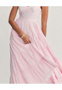 LOVE SHACK FANCY - Różowa sukienka maxi Story. Kolor: różowy, wielokolorowy, fioletowy. Materiał: bawełna. Długość rękawa: na ramiączkach. Wzór: paski. Typ sukienki: rozkloszowane. Długość: maxi
