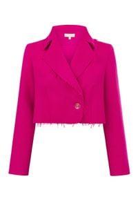 MARLU - Różowa marynarka Vila. Kolor: różowy, fioletowy, wielokolorowy. Materiał: wełna. Długość rękawa: długi rękaw. Długość: długie