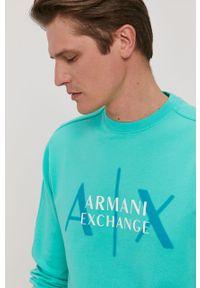 Turkusowa bluza nierozpinana Armani Exchange na co dzień, z nadrukiem, casualowa