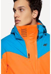 4f - Kurtka narciarska HQ Performance KUMN152A - pomarańcz neon. Typ kołnierza: kołnierzyk stójkowy. Kolekcja: plus size. Kolor: pomarańczowy. Materiał: materiał, mesh, poliester. Technologia: Dermizax. Sezon: zima. Sport: narciarstwo