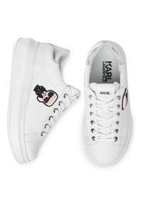 Białe półbuty casual Karl Lagerfeld z cholewką, z aplikacjami
