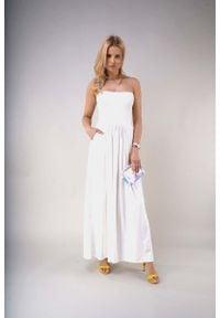 Nommo - Maxi Sukienka z Odkrytymi Ramionami - Ecru. Materiał: poliester, bawełna. Typ sukienki: z odkrytymi ramionami. Długość: maxi