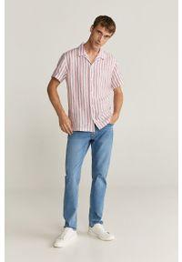 Czerwona koszula Mango Man krótka, casualowa, z krótkim rękawem, na co dzień