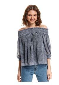 TOP SECRET - Szyfonowa bluzka odsłaniająca ramiona. Typ kołnierza: dekolt hiszpanka. Kolor: niebieski. Materiał: szyfon. Sezon: lato
