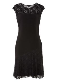 Sukienka z dżerseju z koronką bonprix czarny. Okazja: na imprezę. Kolor: czarny. Materiał: jersey, koronka. Wzór: koronka. Styl: elegancki