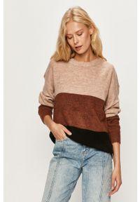 Beżowy sweter Jacqueline de Yong długi, na co dzień, z długim rękawem