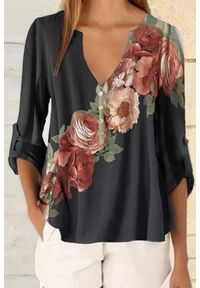 Czarna bluzka IVET elegancka, z nadrukiem