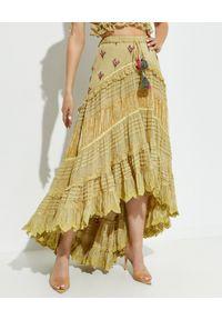 GADO GADO - Oliwkowa spódnica maxi. Stan: podwyższony. Kolor: zielony. Materiał: bawełna, koronka. Długość: do kostek. Wzór: haft, aplikacja