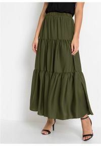 Spódnica z falban z poliestru z recyklingu bonprix ciemny khaki. Kolor: zielony. Materiał: poliester. Długość: długie