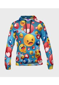 MegaKoszulki - Bluza damska fullprint z kapturem Emojis. Typ kołnierza: kaptur. Materiał: dzianina, dresówka