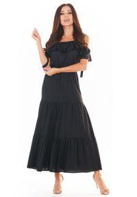 Awama - Czarna Długa Sukienka w Hiszpańskim Stylu. Kolor: czarny. Materiał: wiskoza, elastan. Długość: maxi